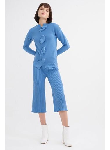 BGN Mavi - Drapeli Triko Kazak - Pantolon Takım Mavi